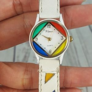 Vtg 90s Colorful Leather Watch